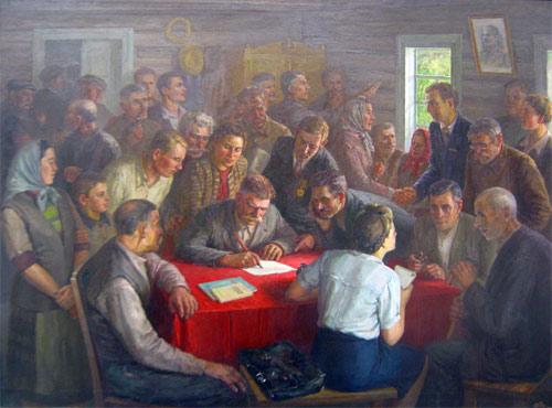 Riunione di fondazione del Kolchoz