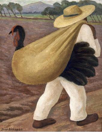 Contadino che porta un tacchino - Diego Rivera