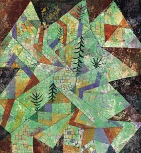 Paesaggio in verde con mura detto Costruzione boschiva